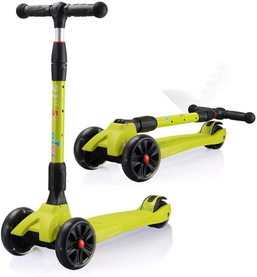 LLRDIAN Scooter Infantil Plegable Rueda Ancha de Tres Ruedas Flash Bicicleta niño Principiante yo Coche Elevador Ajustable 2-12 años de Edad Scooter de niños (Color : Verde): Amazon.es: Hogar