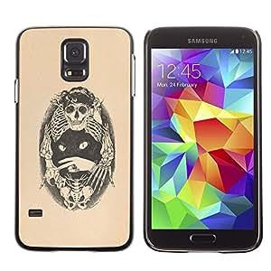 Be Good Phone Accessory // Dura Cáscara cubierta Protectora Caso Carcasa Funda de Protección para Samsung Galaxy S5 SM-G900 // Skull Bones Cat Tattoo Beige Black