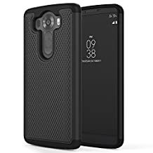 LG V10 Case, MoKo [Shock Absorption] Slim Dual Layer Protective Case with Soft Silicone Bumper and Rigid PC Back Cover for LG V10 5.7 Inch (2015) - Black