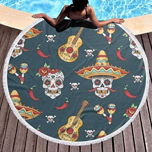 Dlskjda Happy Halloween Floral Sugar Skulls Round Beach Towel Blanket with Tassels,Beach Microfiber Round Beach Towel Picnic Carpet Yoga Mat]()