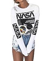 OUNAR NASA Shirt Universe Galaxy Sweatshirt Aeronautics Graphic Space Basic Blouse Long Sleeve