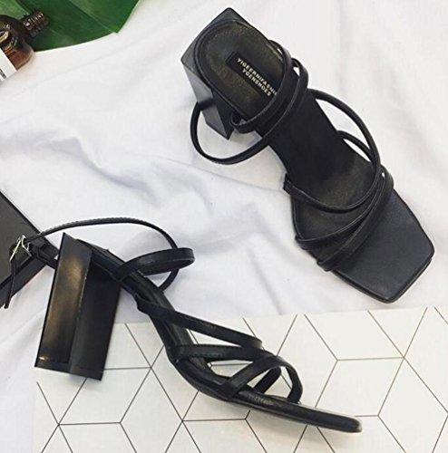 OL Casual caviglia Cravatte Open Square Toe Chunky High Heel facile da montare Elegante Donna sandali EU Taglia 34–38 Black