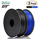 PLA Filament 3D Printer Filament Manufactured by SUNLU, 2 kg(4.4 LBS) Spool 3D Printing Filament, Dimensional Accuracy +/- 0.02 mm, 1.75 mm, Black+Blue