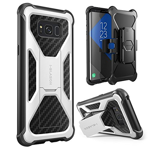i-Blason Transformer Series Case for Galaxy S8, [Heavy Duty] [Dual Layer] Holster Cover with [Locking Belt Swivel Clip] for Samsung Galaxy S8 2017 Release (White)