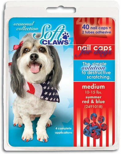Soft Claws Canine Summer Colors Dog Nail Caps Kit, XX-Large, 40-Pack, Red and Blue