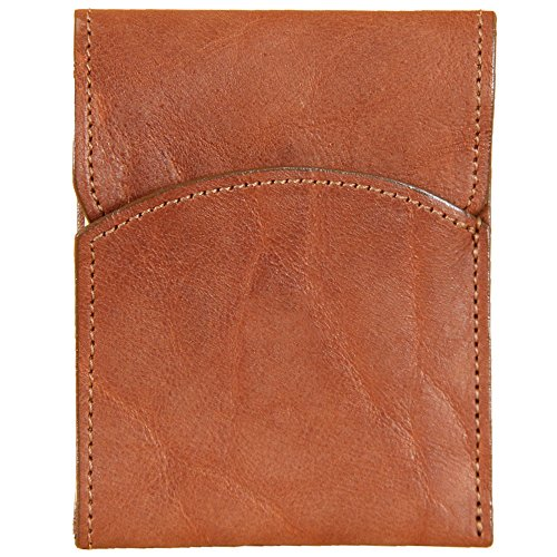 (Mens Leather Front Pocket Wallet with Flap American Buffalo Brown USA)