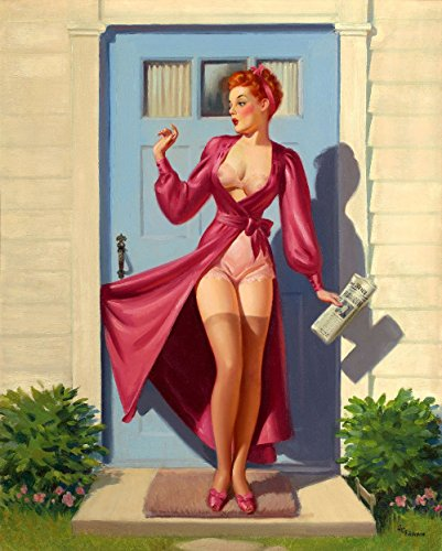 Vintage Door Poster (Pin-Up Girl Wall Decal Poster Sticker - Caught in the Door - Red Hair Redhead Pinup Decal Stickers and Mural for your home and business. Vintage Wall Art for Room Decor and Decoration - Pin Up Poster Mural)