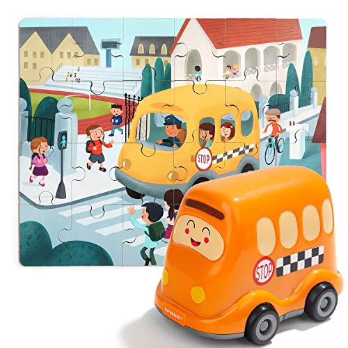 (TOP BRIGHT School Bus Toys for Toddlers Filled with Wooden Puzzles - Car Toys for 3 Year Old Boy Girl Gifts - STEM Toy Educational Learning with 24 Pieces Toddler Puzzles)