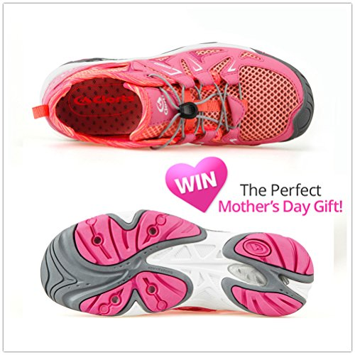 Clorts Women's Water Shoe Closed Toe Quick Drying Hiking Sandal 3H025 Pink wlufKtLh
