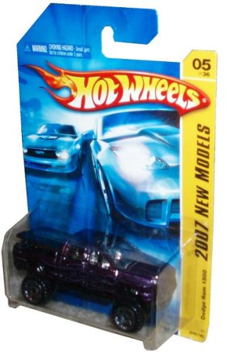 Mattel Hot Wheels 2007 New Models Series 1:64 Scale Die Cast Metal Car # 5 of 36 - Purple Pick-Up Truck Dodge Ram 1500 with Fun Facts # - Dodge Wheels Ram Hot