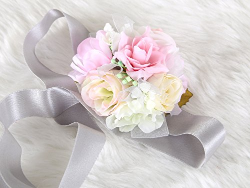 Crown Art Deco Vase (Pretty bridesmaid wrist Corsage Rose Flower Wedding Bridal (Pink-Grey))