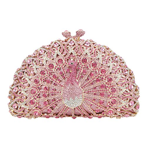 Crystal Bonjanvye Ab Bag Peacock Girls Evening Gold For Glitter Pink Clutch p1xfw51Aq