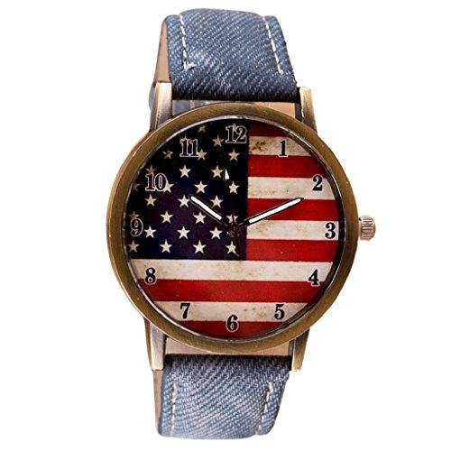 Tenworld Women Watch American Flag PU Leather Strap Analog Quartz Wrist Watches (C)