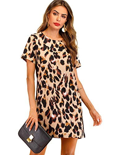 (Verdusa Women's Round Neck Short Sleeve Leopard Print Shift Dress Multicolor M)