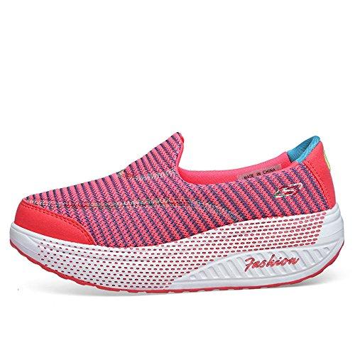 Cmei-rx915fense35 Scarpe Slip-on Da Donna Scarpe Da Passeggio Mesh Ascensore Forma Scarpe Da Ginnastica Fitness Rosa 5 B (m) Us