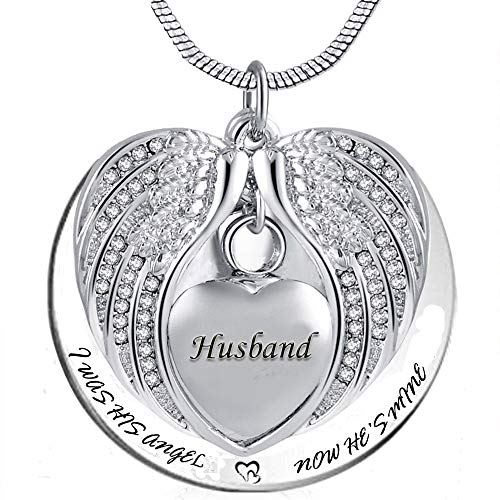 Angel Wing Urn Necklace for Ashes, Heart Cremation Memorial Keepsake Pendant Necklace Jewelry with Fill Kit and Gift Box (Husband)