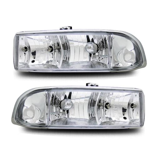 SPPC Crystal Headlights Chrome Assembly Set For Chevy S10 / Blazer- (Pair) Driver Left and Passenger Right Side Replacement (Chevy S10 Crystal Headlights)