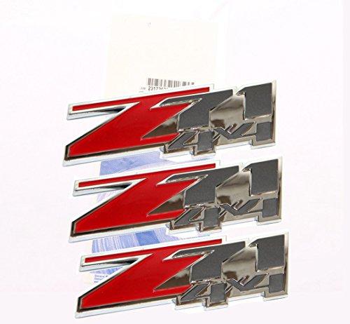 Yoaoo®3x NEW Chrome OEM 2005-2013 3d Logo Chevy Suburban Tahoe Z71 4x4 Emblems Pair Set Badges Red (2007 Z71 Suburban)