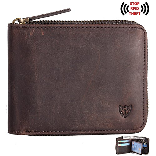 Multi Leather Zip Personalized Wallet Around wallet Bifold Men's Monogrammed Coffee Wallet Engraved Zipper RFID Customized 4T7Bgg