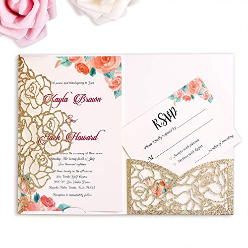 FEIYI 20 PCS 3 Folds Laser Cut Rose Shape Wedding Invitations Cards for Wedding Bridal Shower Engagement Birthday Graduation Invitation Cards (Gold Glitter)