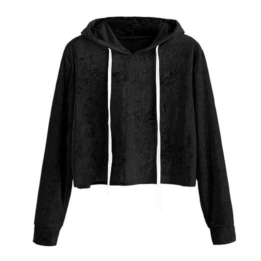 83673d4075a Women Teen Girls Vogue Velvet Hoodies Crop Top Long Sleeve Hooded Pullover  Tops Blouse (S
