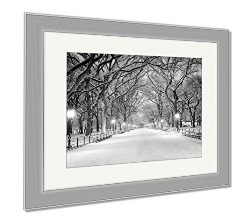 Ashley Framed Prints Central Park Ny Covered In Snow At Dawn, Wall Art Home Decoration, Color, 26x30 (frame size), Silver Frame, - Shops Mall Promenade