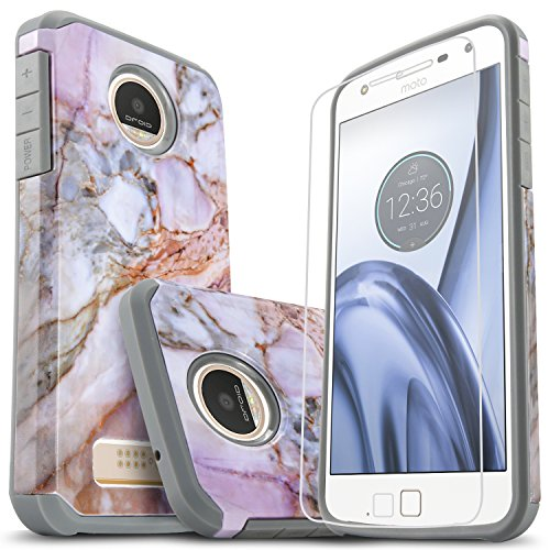 Moto Z Play Case, [Not Fit Z2 Play] Starshop [Shock Absorption] Dual Layers Rugged Impact Advanced Armor Phone Cover +[Premium Screen Protector Included] For Motorola Moto Z Play (Marble Pattern)