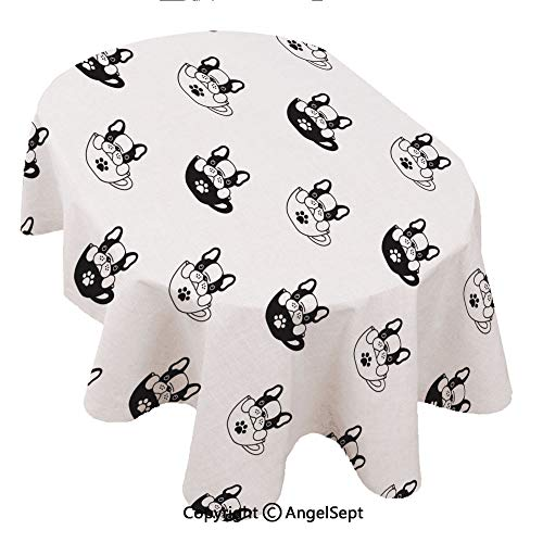 - Covers for The Home Deluxe Elastic Edged,Dog Seamless paern French Bulldog isolaed Cup paw Puppy Wallpaper Background e 60x84inch,Backed Vinyl Fitted Table Cover - Medallion Pattern - Oval
