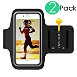 Vinso Tech Water Resistant Neoprene Adjustable Velcro Armband for iPhone 6s Plus (5.5-Inch) ,iPhone 6s 6 5 SE 5S and All iPod Touch Model - Black - Pack of 2