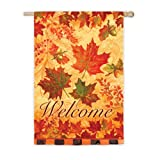 Cheap Evergreen Suede Welcome Fall Leaves House Flag, 29 x 43 inches