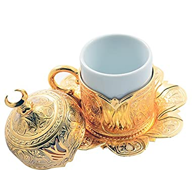 24 Pcs Espresso Turkish Greek Arabic Coffee Demitasse Cup Saucer Set for 6 (Tulip Gold)