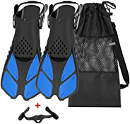 QKURT Snorkel Fins, Swimming Fins with Adjustable Buckles Open Heel, Diving Flippers for Men Women Youth Trave