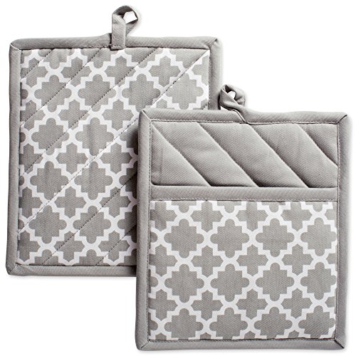 Gray Terry Cloth Covers (DII Cotton Lattice Pot Holders, 9 x 8