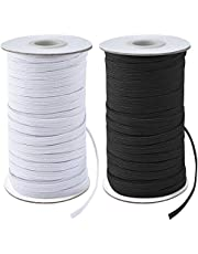 """Coopay 160 Yards Length 1/8"""" Width Elastic Cord Elastic Bands Elastic Rope Heavy Stretch Elastic Spool Knit for Sewing, 2 Rolls, 80 Yards/Roll (Black and White, 1/8 Inch)"""