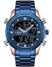 NAVIFORCE Herrenuhr mit 13-stelliger Timing-Funktion, Anzeige von Uhrzeit, Datum und Tag, mit analogem Quarzwerk und digitalem LCD-Multifunktionswerk