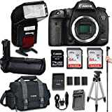 Canon EOS 7D Mark II DSLR Camera (Body Only) + Automatic Flash With LED Video Light + Battery Grip + 2x SanDisk 64GB Ultra Class Memory Card + Large Monopod + Tripod + W-E1 Wi-Fi Adapter