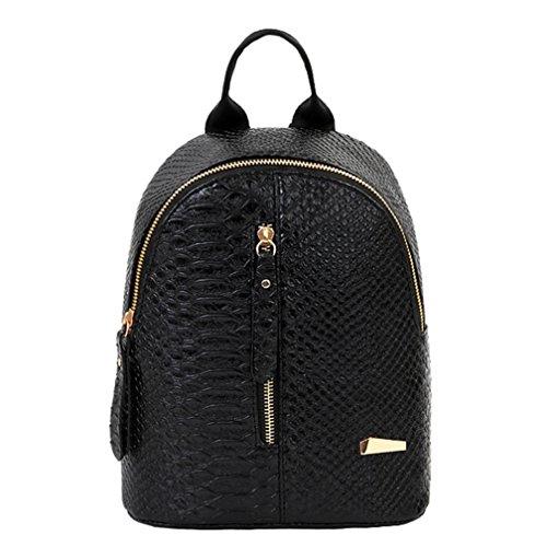 Mochilas de cuero para mujer Bolsas de escuela para adolescentes Bolsa de viaje Bolsa de hombro LMMVP (24cm*20cm*10cm, Negro): Amazon.es: Hogar