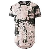 KLIEGOU Mens Hipster Hip Hop Ripped Round Hemline Pattern Print T Shirt (86F Pink M)