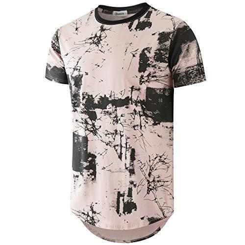 - KLIEGOU Mens Hipster Hip Hop Ripped Round Hemline Pattern Print T Shirt (86F Pink L)