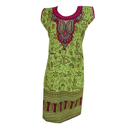 Printed Kurta Cotton Green Kurti Summer Women Wear Indian Clothing