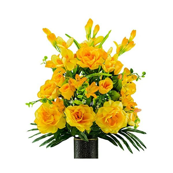 Rubys-Silk-Flowers-Gold-Gladiolus-and-Rose-Mix-Artificial-Bouquet-featuring-the-Stay-In-The-Vase-Designc-Flower-Holder-SM2181