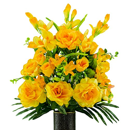 (Ruby's Silk Flowers Gold Gladiolus and Rose Mix Artificial Bouquet, featuring the Stay-In-The-Vase Design(c) Flower Holder (SM2181) )