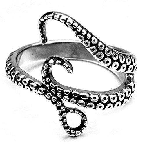 SAINTHERO Men's Vintage Black 316L Stainless Steel Octopus Tentacle Ring Punk Gothic Squid Biker Rings Open Ring Size 11