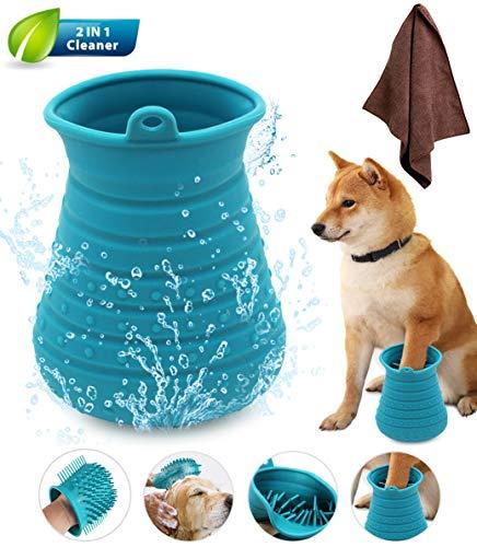 Idepet – Limpiador de patas de perro, cepillo de limpieza portátil con toalla, para limpieza de patas de perros y gatos