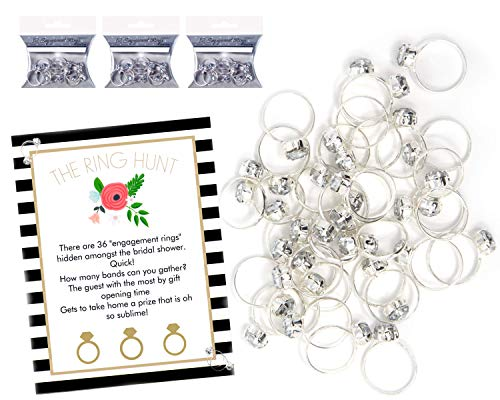 Plastic Rings for Bridal Shower Ring Hunt Party Game with 36 Plastic Diamond Engagement -