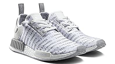 2dd8ae87a adidas NMD R1 Boost Trainers Whiteout Blackout Three Stripes in White  Sneaker Shoes S76518 Men s UK 12.5