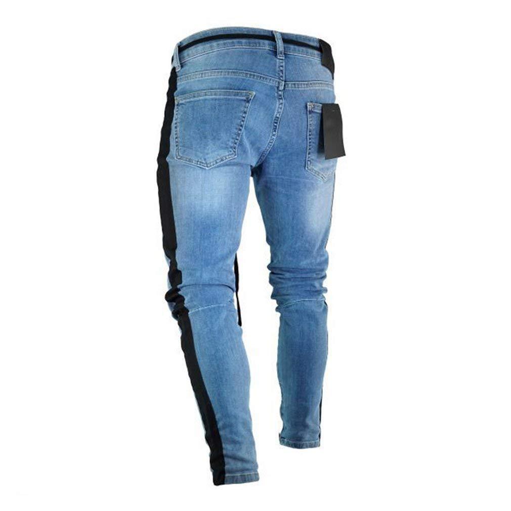 335e52c162 BOLAWOO Jeans Skinny Bucati Uomo con con Spezzati Fori Chiusura ...