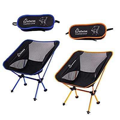 WolfWise Ultralight Folding Camping Chairs Portable Backpacking with Carry Bag and carabiner