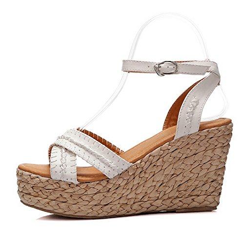AmoonyFashion Womens Pu Solid Buckle Open-Toe High-Heels Sandals White ewFNeC