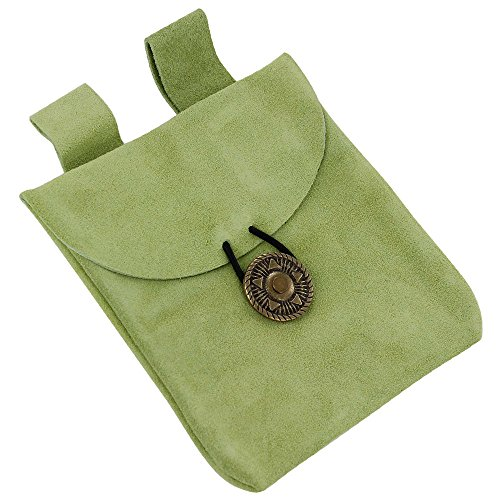 Growth of Life Green Suede Leather Pouch (Renaissance Peasant Shoes)